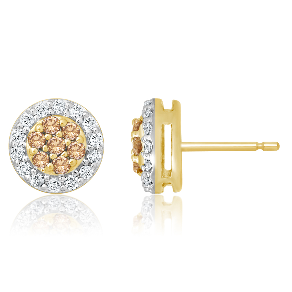 9ct Yellow Gold Stud Earrings with 1/2 Carat of Diamonds