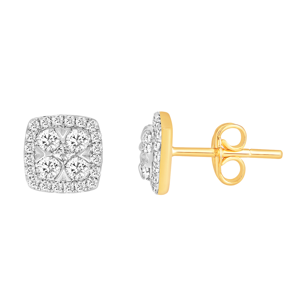 9ct Yellow Gold 1/2 Carat Diamond Studs with 2 Princess and 48 Brilliant Diamonds