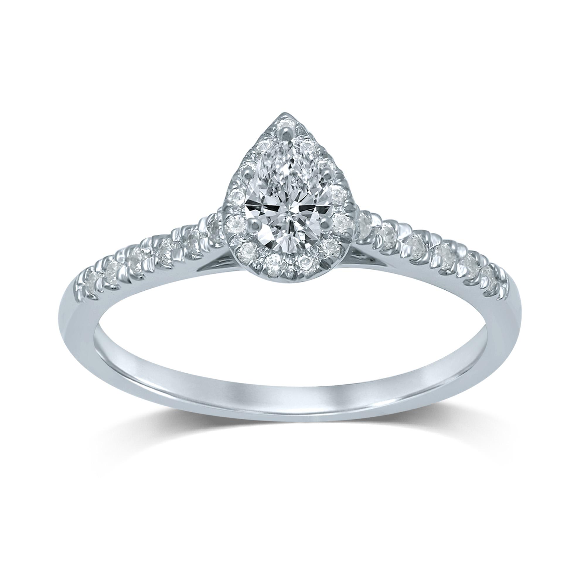 18ct White Gold 0.45 Carat Pear Diamond Halo Ring
