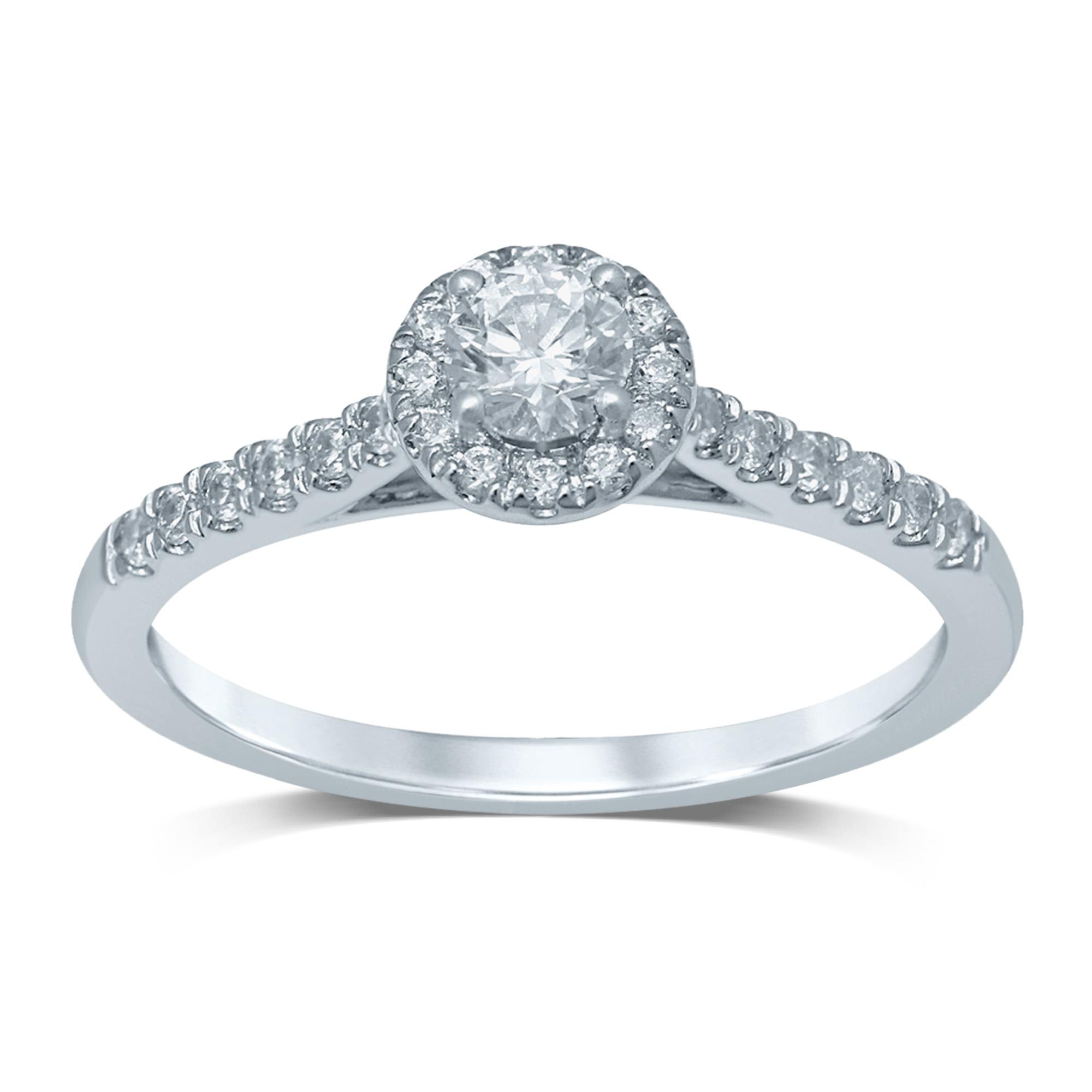 18ct White Gold 0.45 Carat Brilliant Diamond Halo Ring