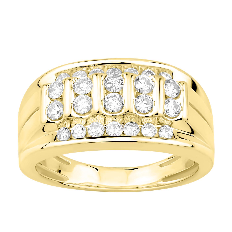 9ct Yellow Gold 1 Carat Diamond Mens Ring