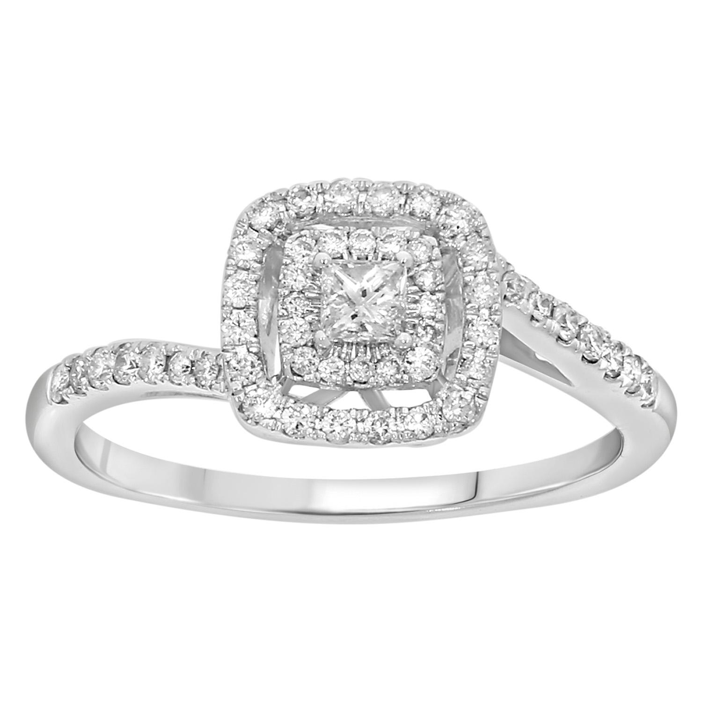 14ct White Gold 1/2 Carat Diamond Double Halo Ring with Princess Centre Diamond