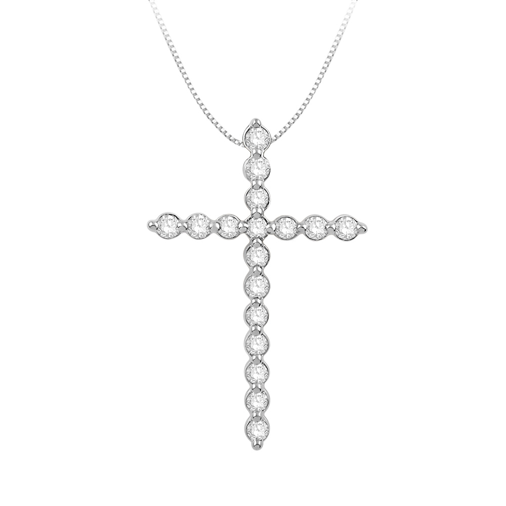 """Faith"" 1/4 Carat of Diamond Religious Pendant in 9ct White Gold"