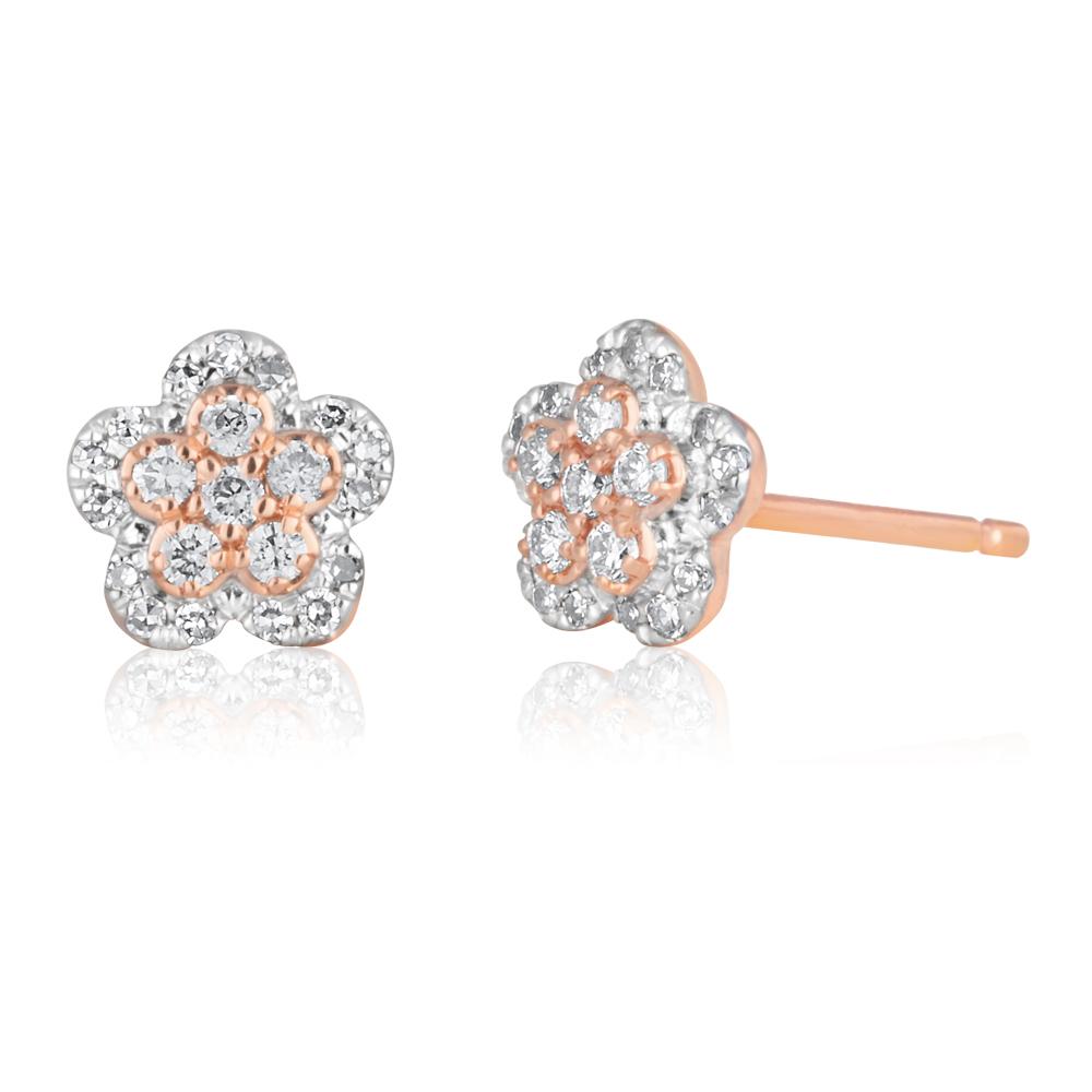 14ct Rose Gold Studs with  Pink Argyle Diamonds 1/5 Carat