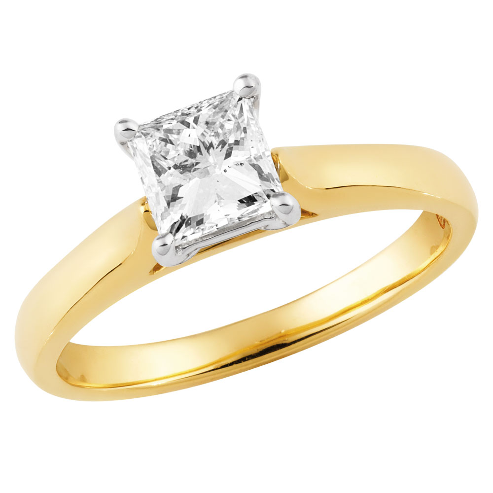 9ct Yellow Gold & White Gold Solitaire Ring With 1 Carat Princess Diamond