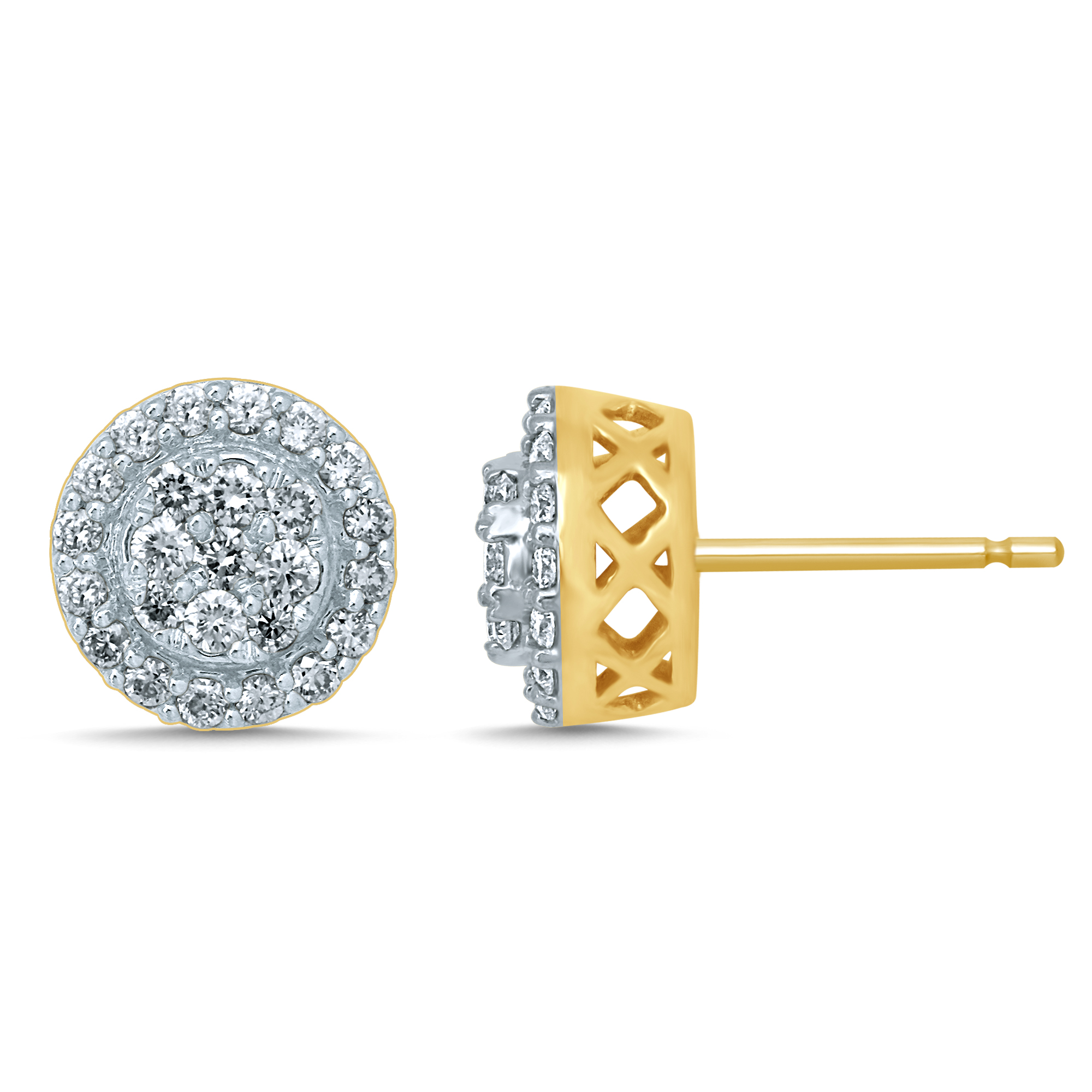 9ct Yellow Gold 3/4 Carat Diamond Studs