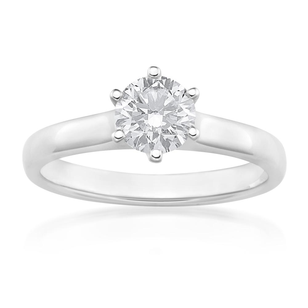 18ct White Gold 1 Carat J Internally Flawless Certified Diamond Ring