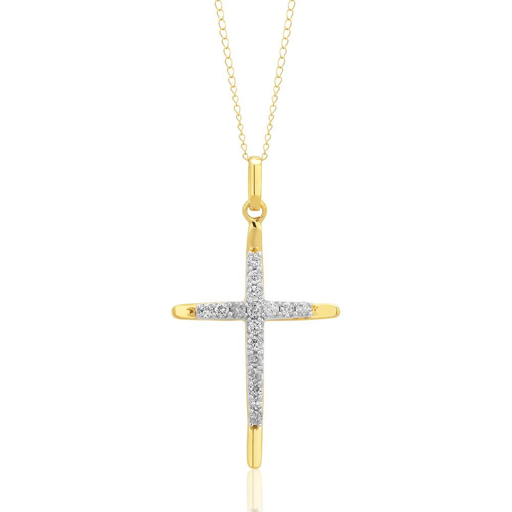 10ct Yellow Gold 0.35 Carat Diamond Cross Pendant