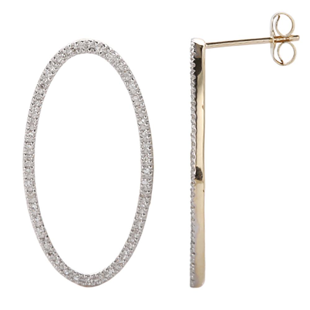 9ct Yellow Gold 0.36 Carat Diamond Circle Stud Earrings with 92Brilliant Cut Diamonds