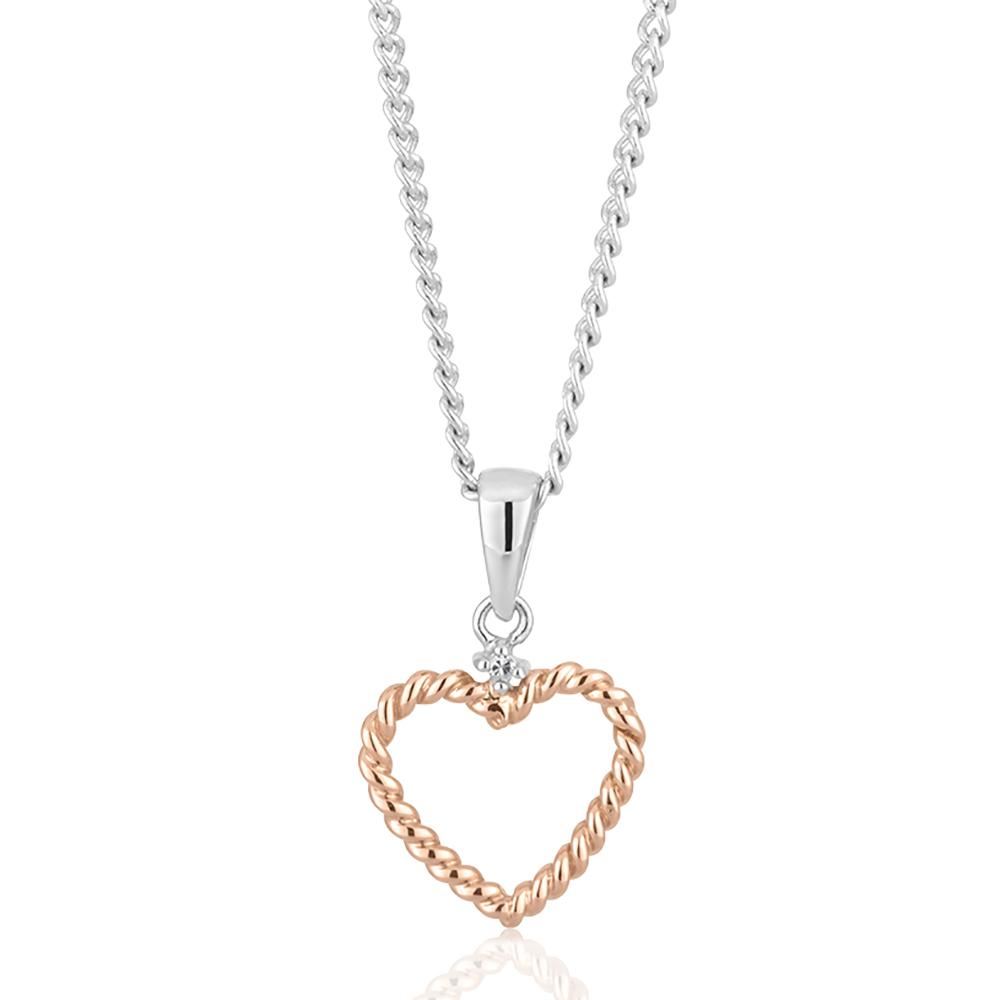 9ct Rose & White Gold Rope Heart Diamond Pendant with 1 Brilliant Cut Diamond