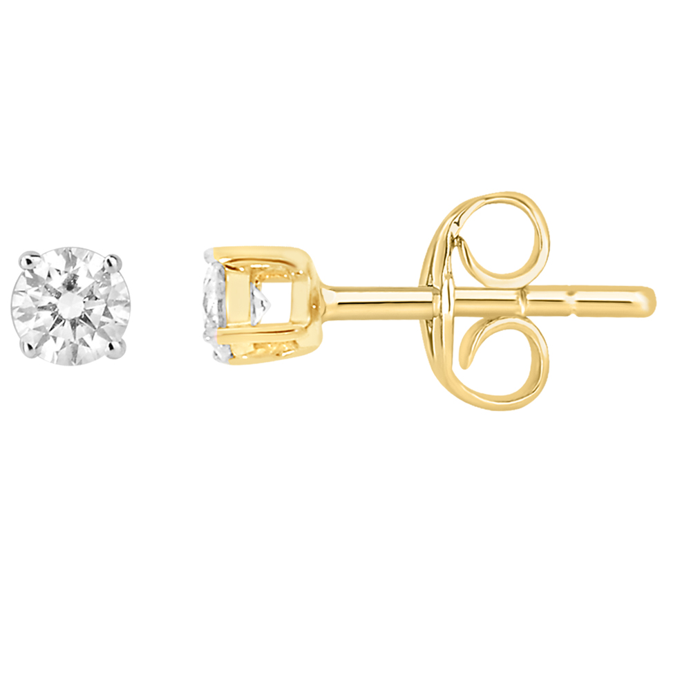 9ct Yellow Gold  0.15 Carat Diamond Stud Earrings