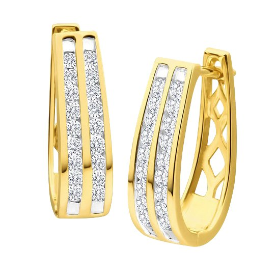 9ct Yellow Gold 1/2 Carat Diamond Double Row Hoop Earrings