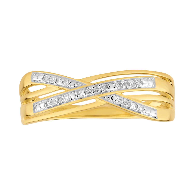 9ct Yellow Gold Diamond Ring with 20 Briliiant Diamonds