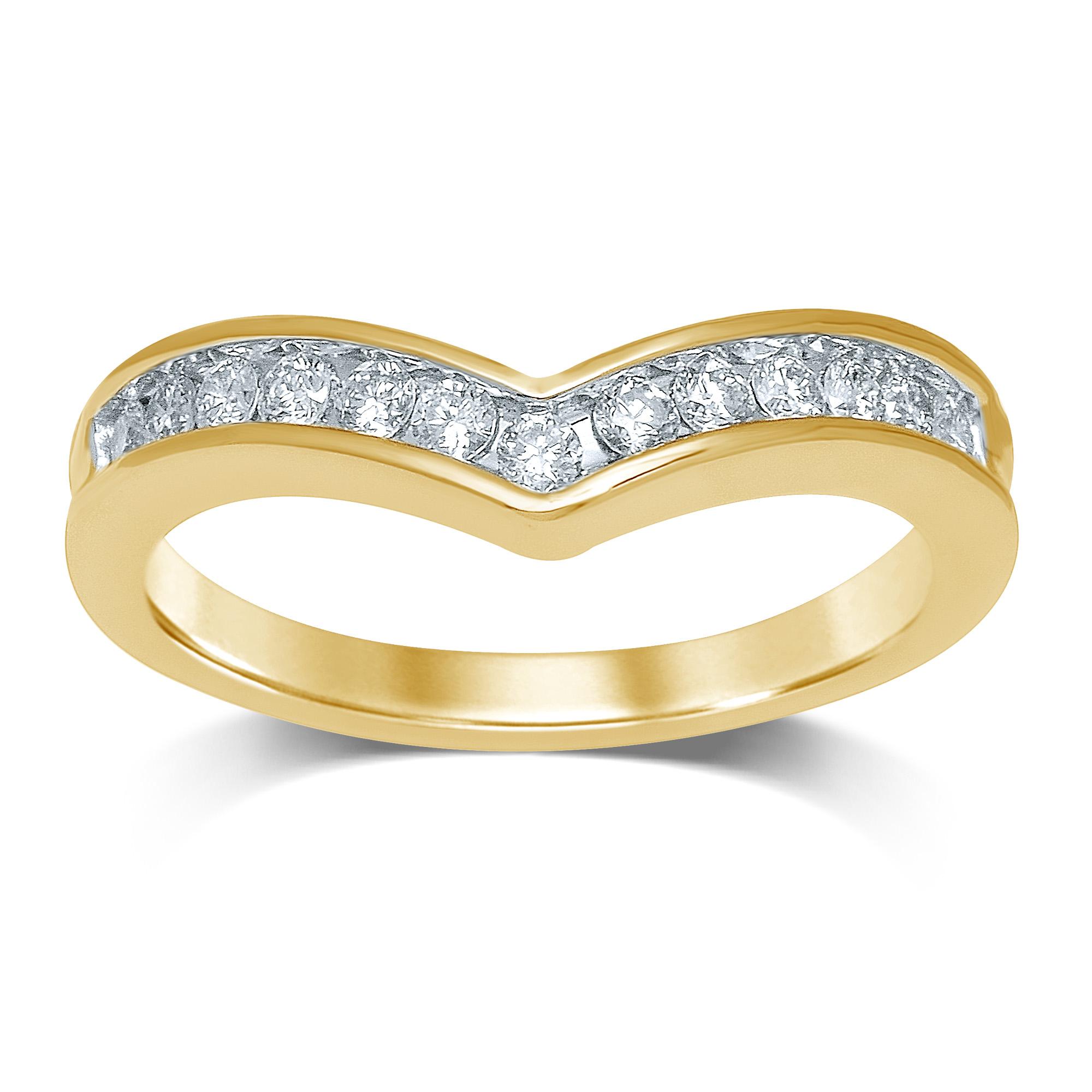 9ct Yellow Gold Contour Diamond Ring with 13 Brilliant Diamonds