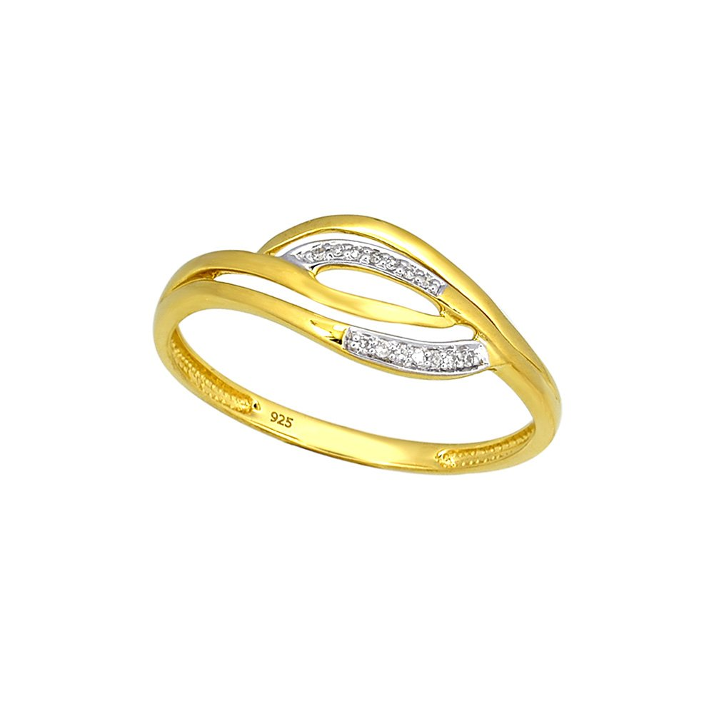 9ct Yellow Gold Diamond Ring with 14 Brilliant Diamonds