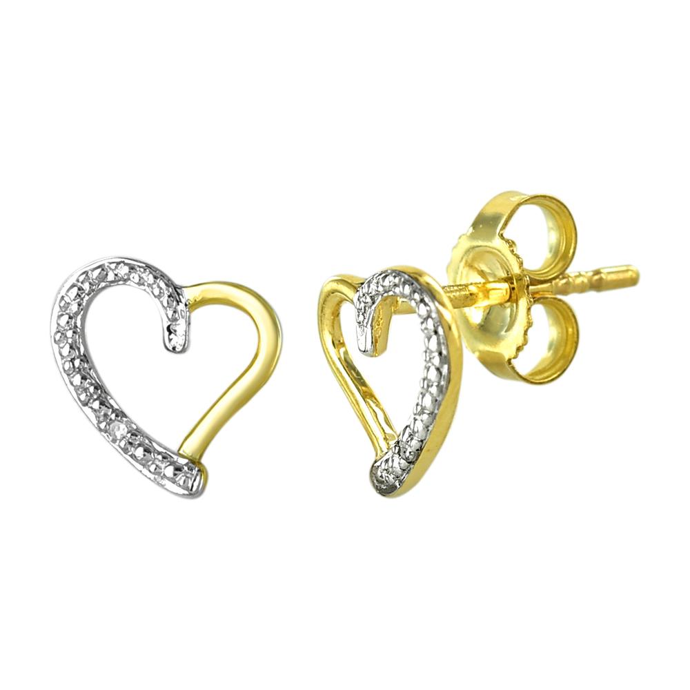 9ct Yellow Gold Diamond Heart Stud Earrings