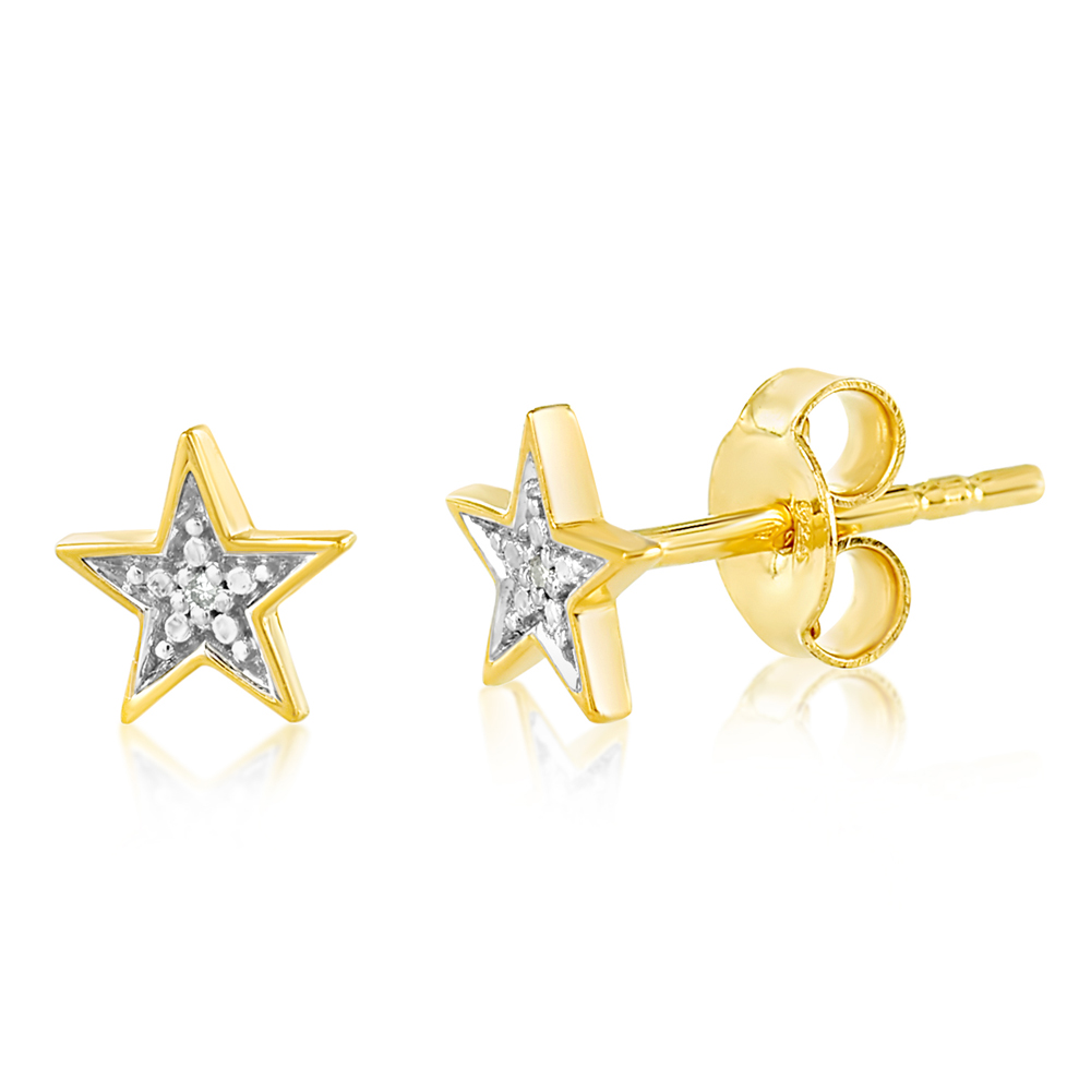 9ct Yellow Gold Diamond Star Stud Earrings