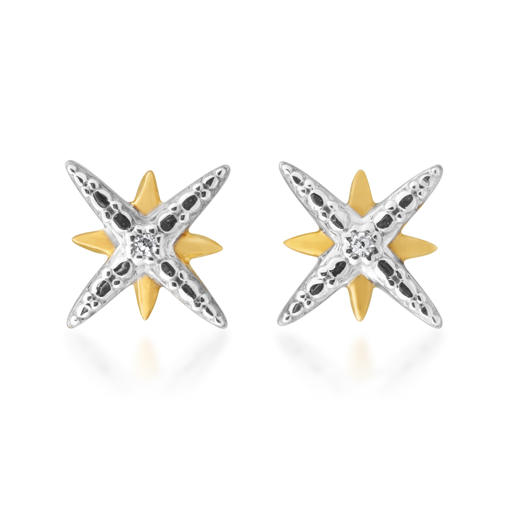 9ct Yellow Gold Diamond Starburst Stud Earrings with 2 Brilliant Diamonds