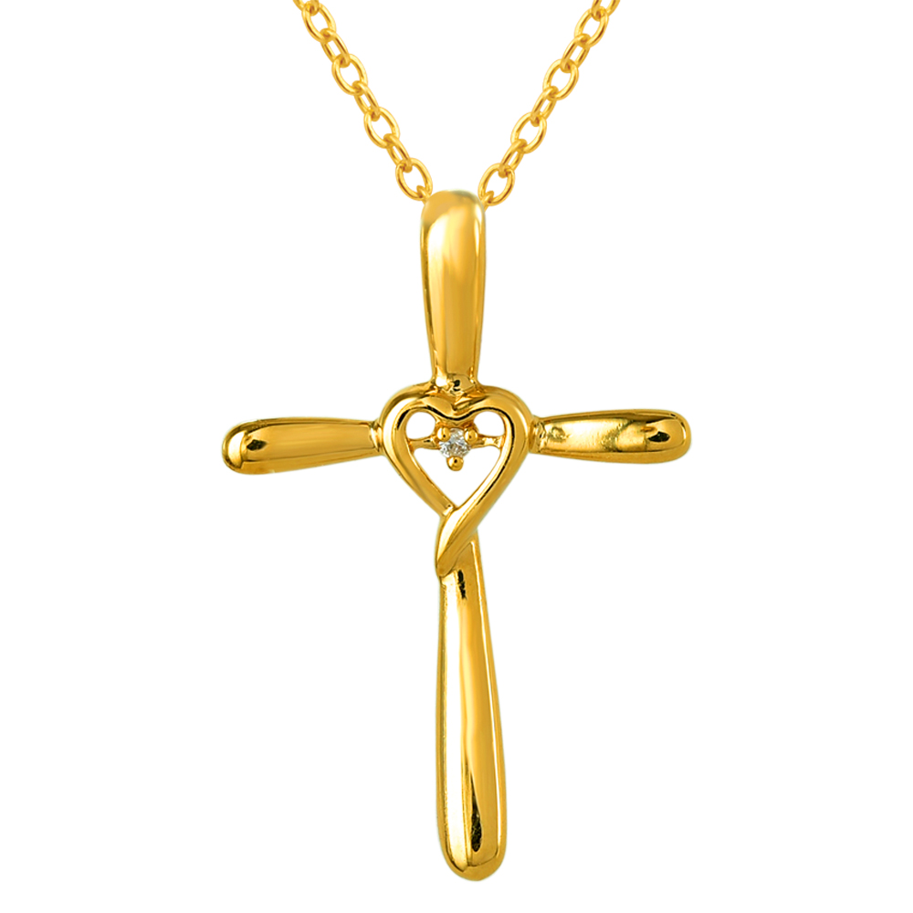 9ct Yellow Gold Diamond Cross Pendant with 1 Brilliant Diamond In Heart Shape