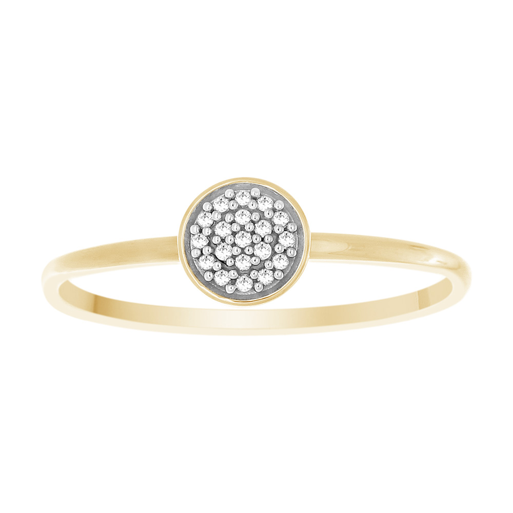 9ct Yellow Gold 0.05 Carat Diamond Ring with 19 Brilliant Cut Diamonds