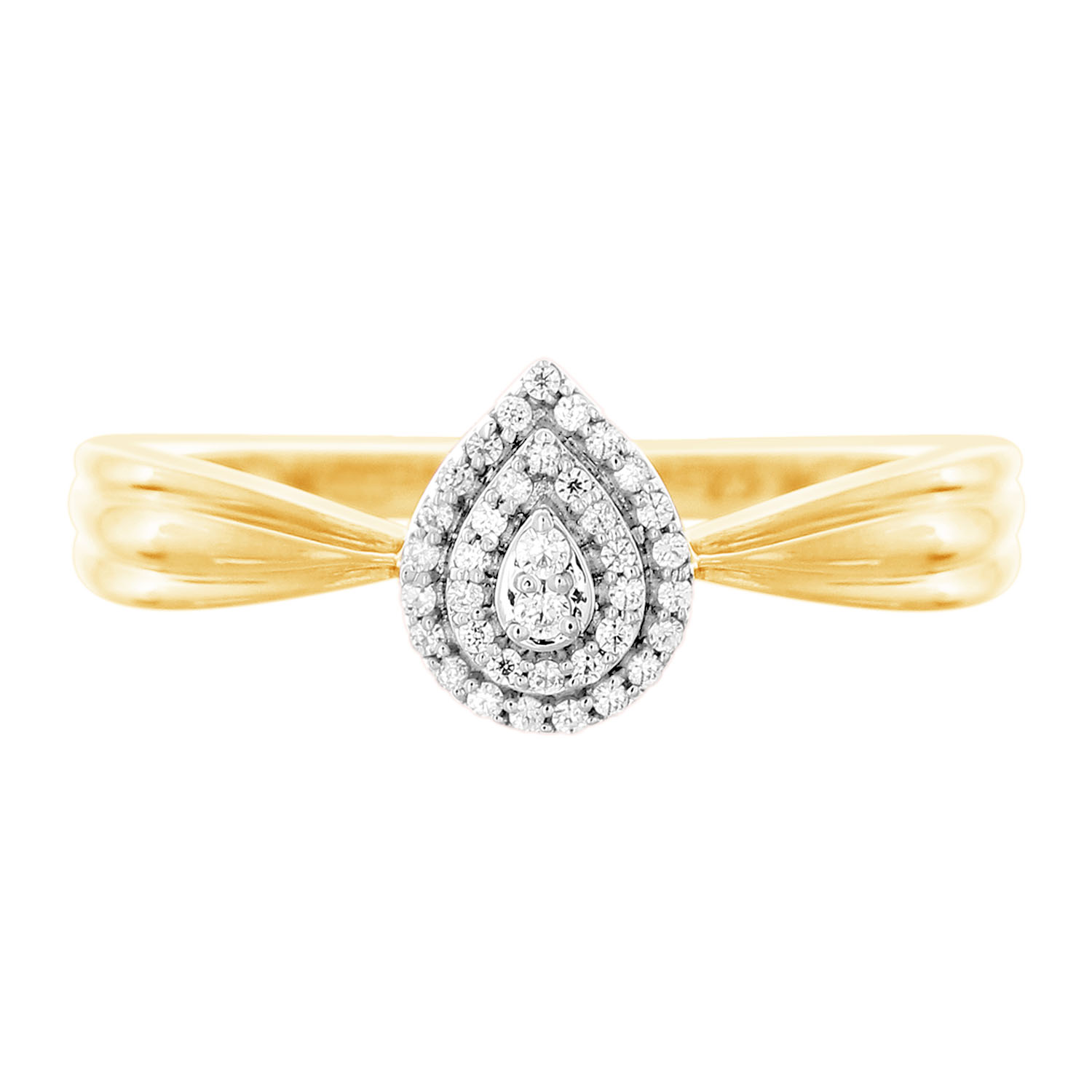 9ct Yellow Gold 0.10 Carat Pear Shape Diamond Ring with 37 Brilliant Cut Diamonds