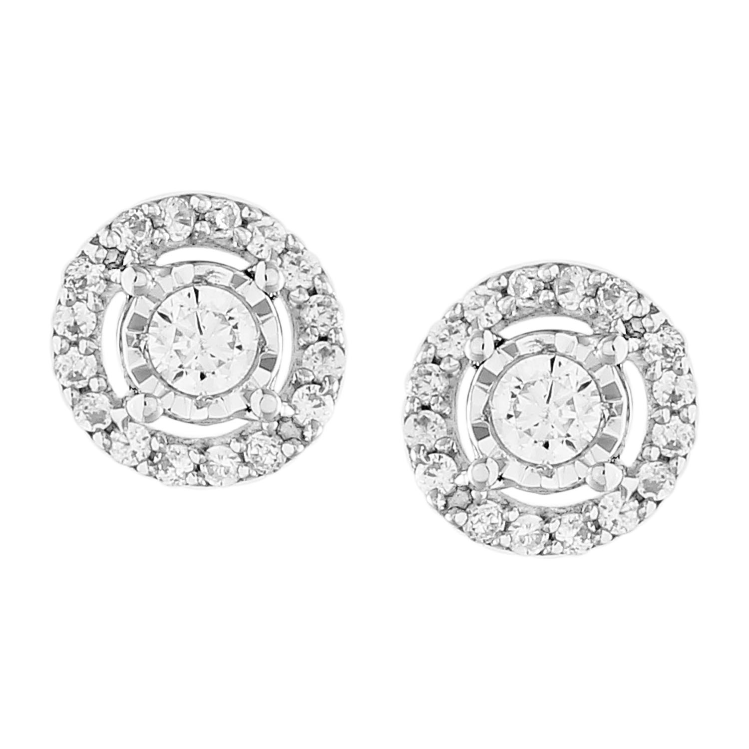9ct White Gold 0.15 Carat Diamond Earrings with 34 Brilliant Cut Diamonds