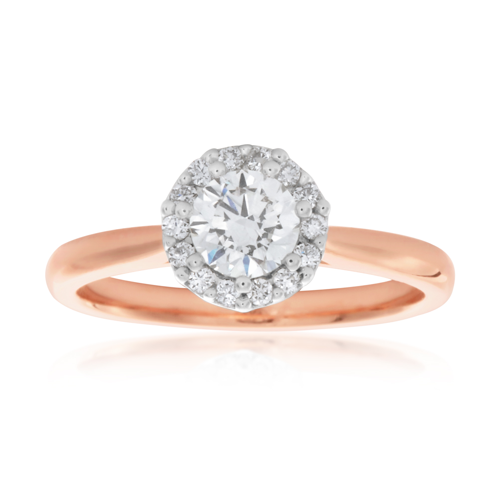 Luminesce Laboratory Grown 18ct Rose Gold 0.60 Carat Diamond Ring with Diamond Halo