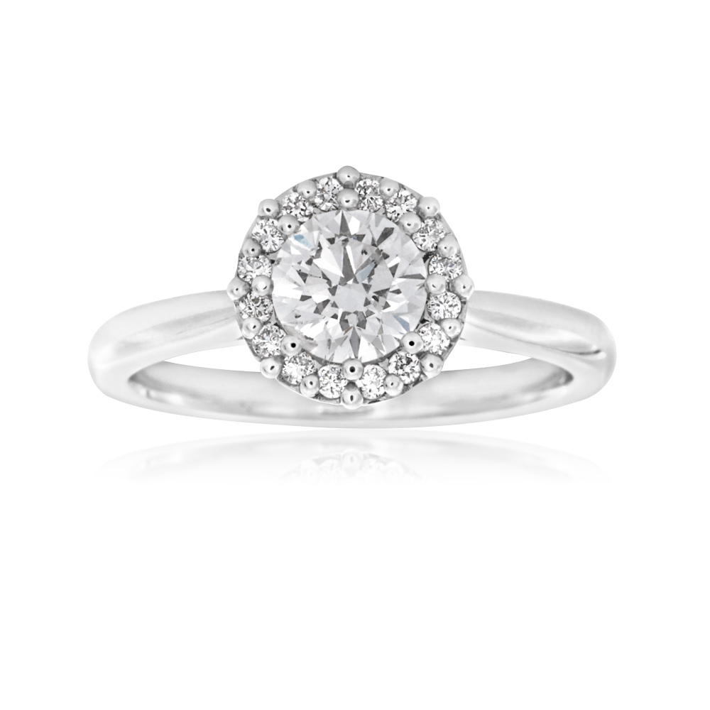 Luminesce Laboratory Grown 18ct White Gold 0.80 Carat Diamond Ring with Diamond Halo