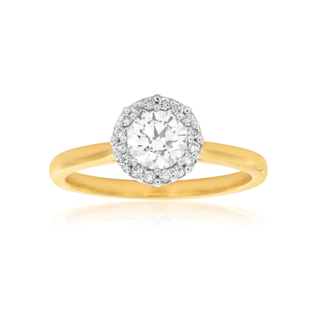 Luminesce Laboratory Grown 18ct Yellow and White Gold 0.80 Carat Diamond Ring