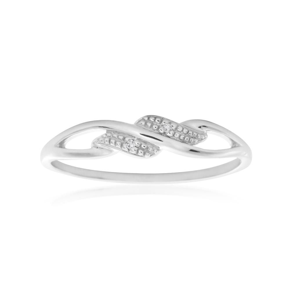 9ct White Gold Diamond Ring with 2 Brilliant Cut Diamonds