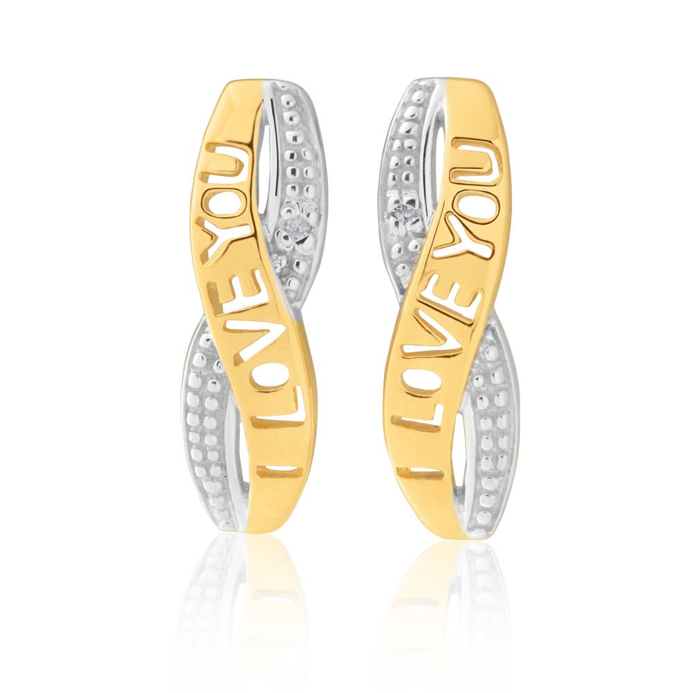 9ct Yellow Gold I Love You Diamond Earrings with 2 Brilliant Cut Diamonds