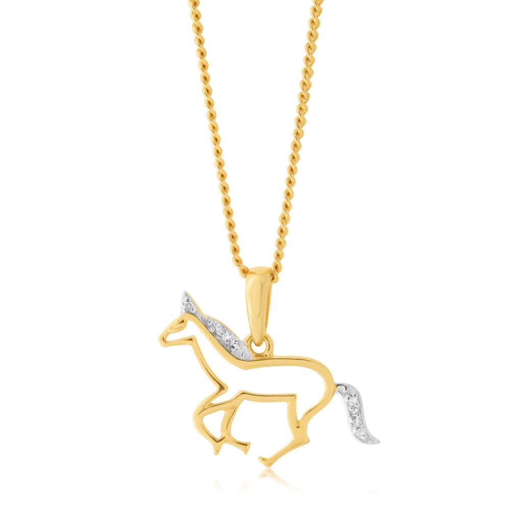 9ct Yellow Gold 0.02 Carat Diamond Unicorn Pendant with 8 Brilliant Cut Diamonds