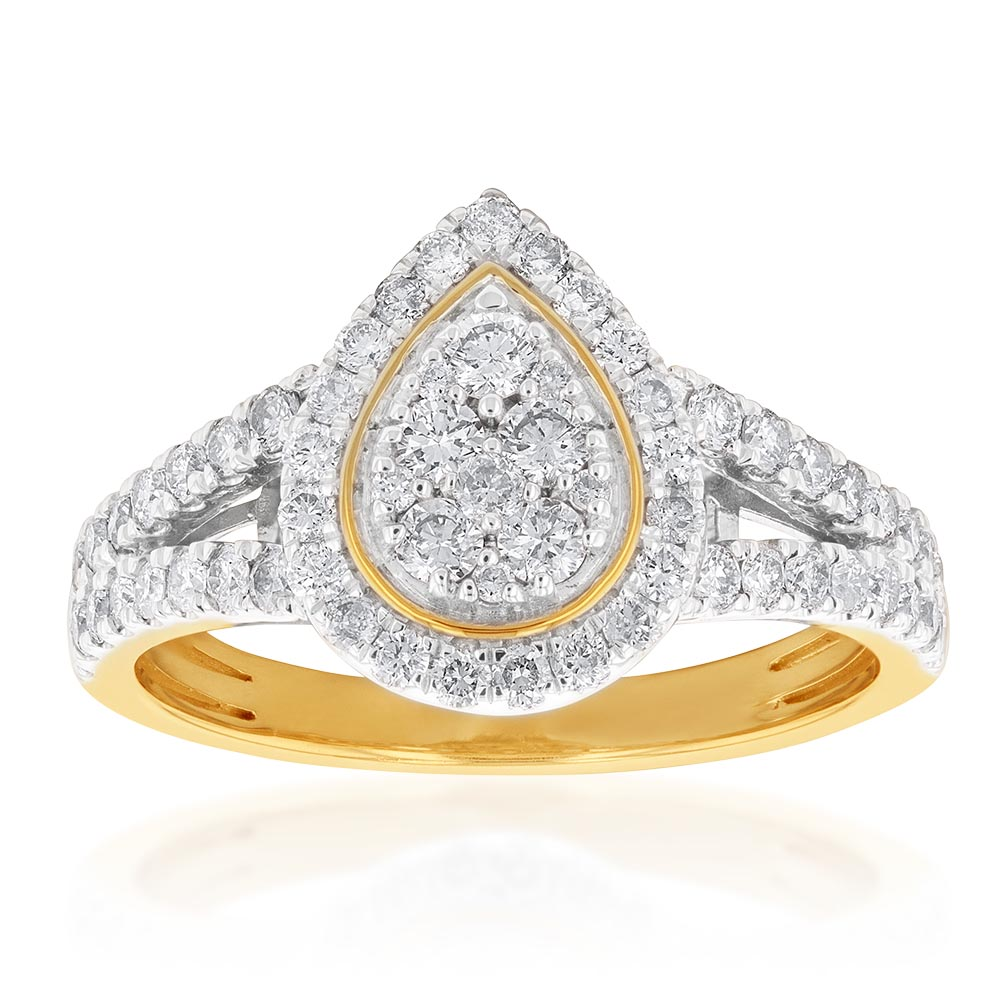9ct Yellow Gold 1 Carat Diamond Pear Shape Cluster Spilt Shank Ring