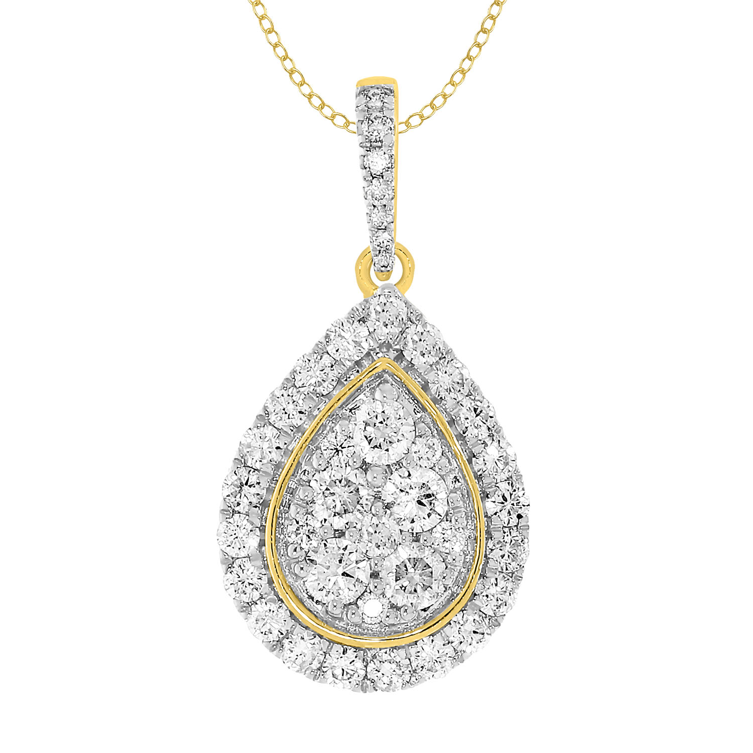 9ct Yellow Gold 1 Carat Diamond Pear Shape Pendant on 45cm Chain