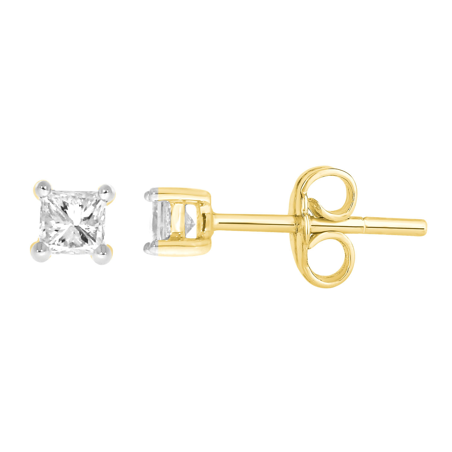 9ct Yellow Gold  0.15 Carat Princess Diamond Stud Earrings