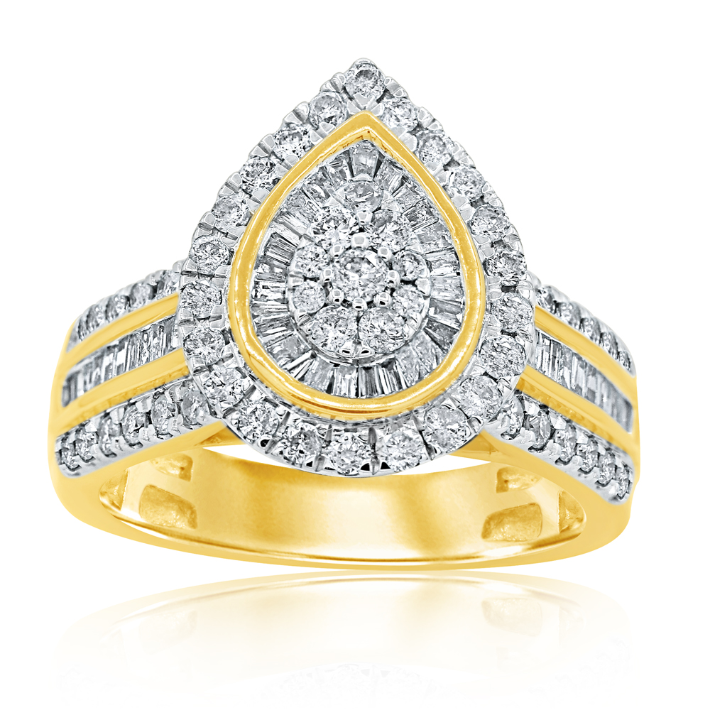 9ct Yellow Gold 1 Carat Diamond Pear Shape Ring with 112 Brilliant & Taper Diamonds