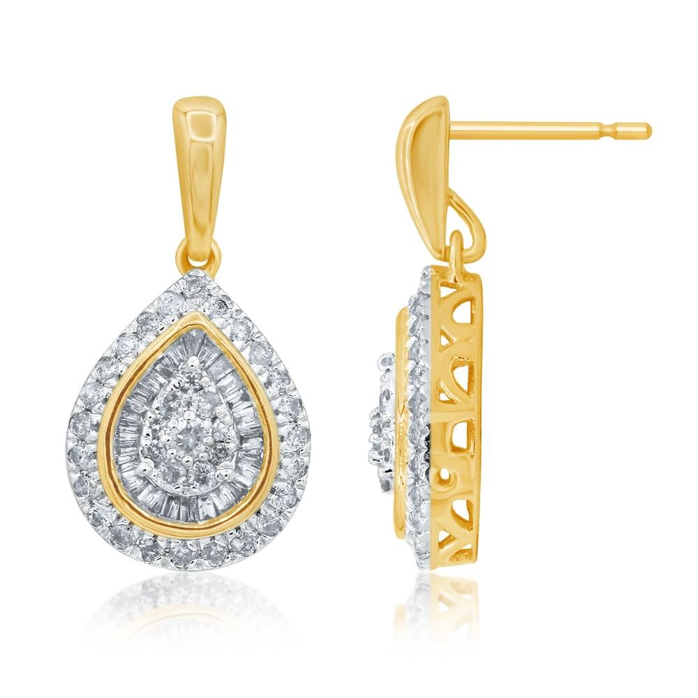 9ct Yellow Gold 1 Carat Diamond Pear Shape Drop Earrings with 124 Diamonds