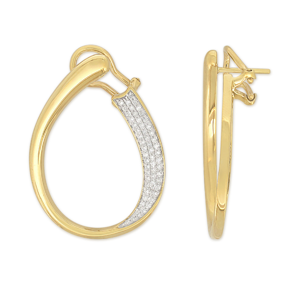 18ct Yellow Gold 0.40 Carat Diamod Hoop Earrings with 108 Micropave Set Diamonds