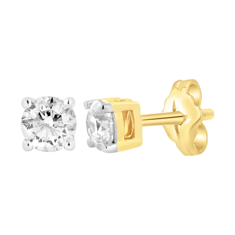 9ct Yellow Gold  0.75 Carat Diamond Stud Earrings