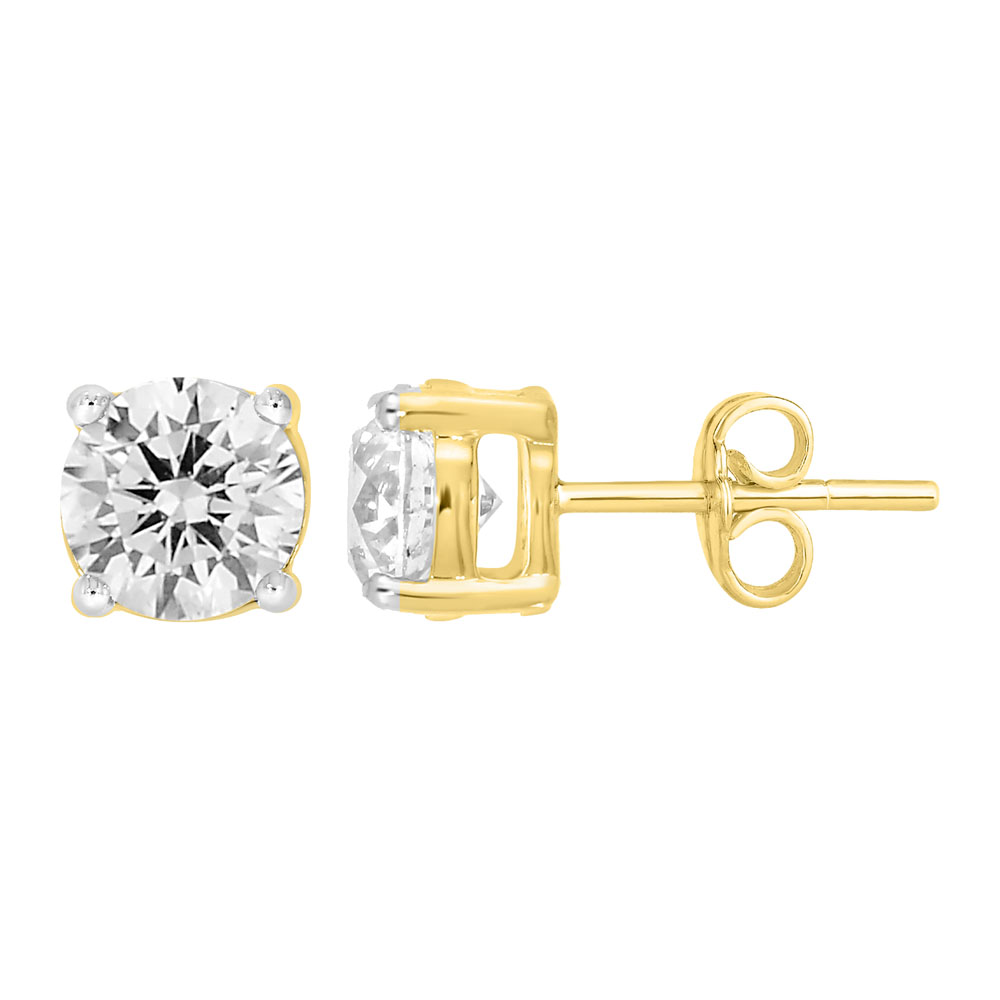 9ct Yellow Gold  2.00 Carat Diamond Stud Earrings