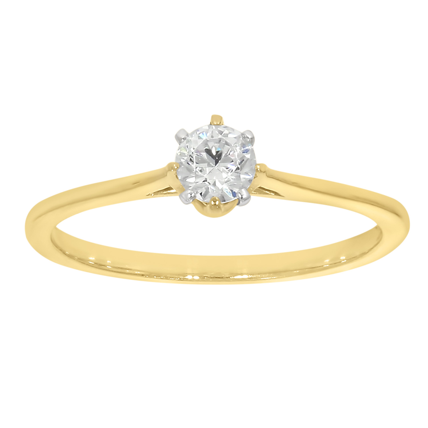 9ct Yellow Gold  1/4 Carat Diamond Solitaire Ring