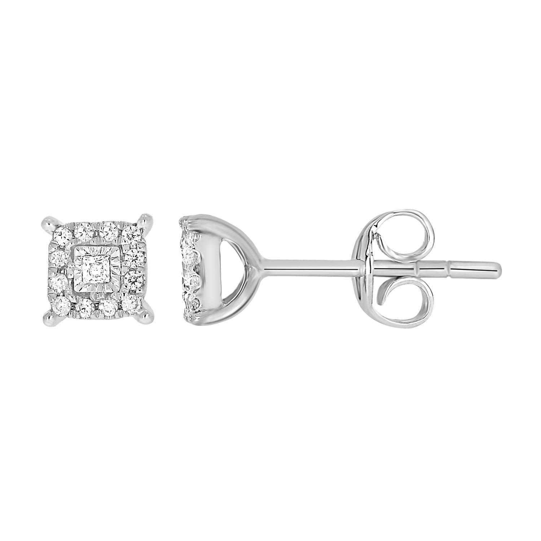 9ct White Gold Beautiful Diamond Stud Earrings