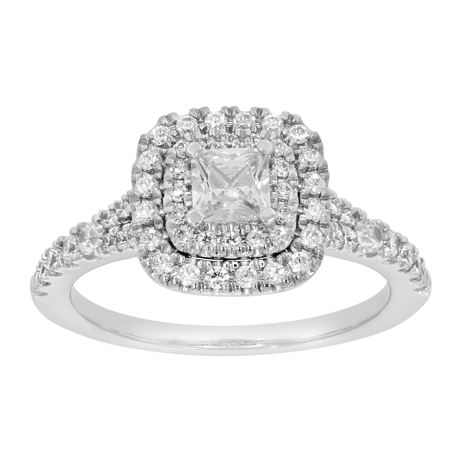 9ct White Gold 1 Carat Princess Diamond Solitaire Ring with Brilliant Halo and Sides