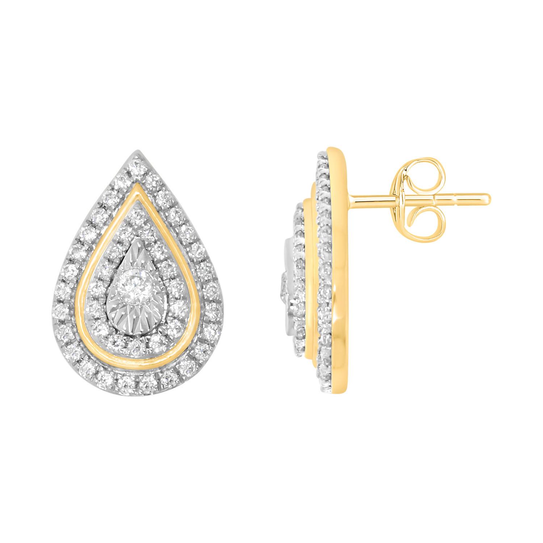 9ct Yellow Gold 1/3 Carat Diamond Pear Shaped Drop Earrings