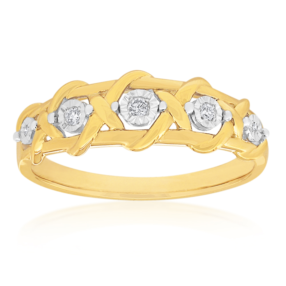 9ct Yellow Gold Diamond Ring with 5 Brilliant Cut Diamonds
