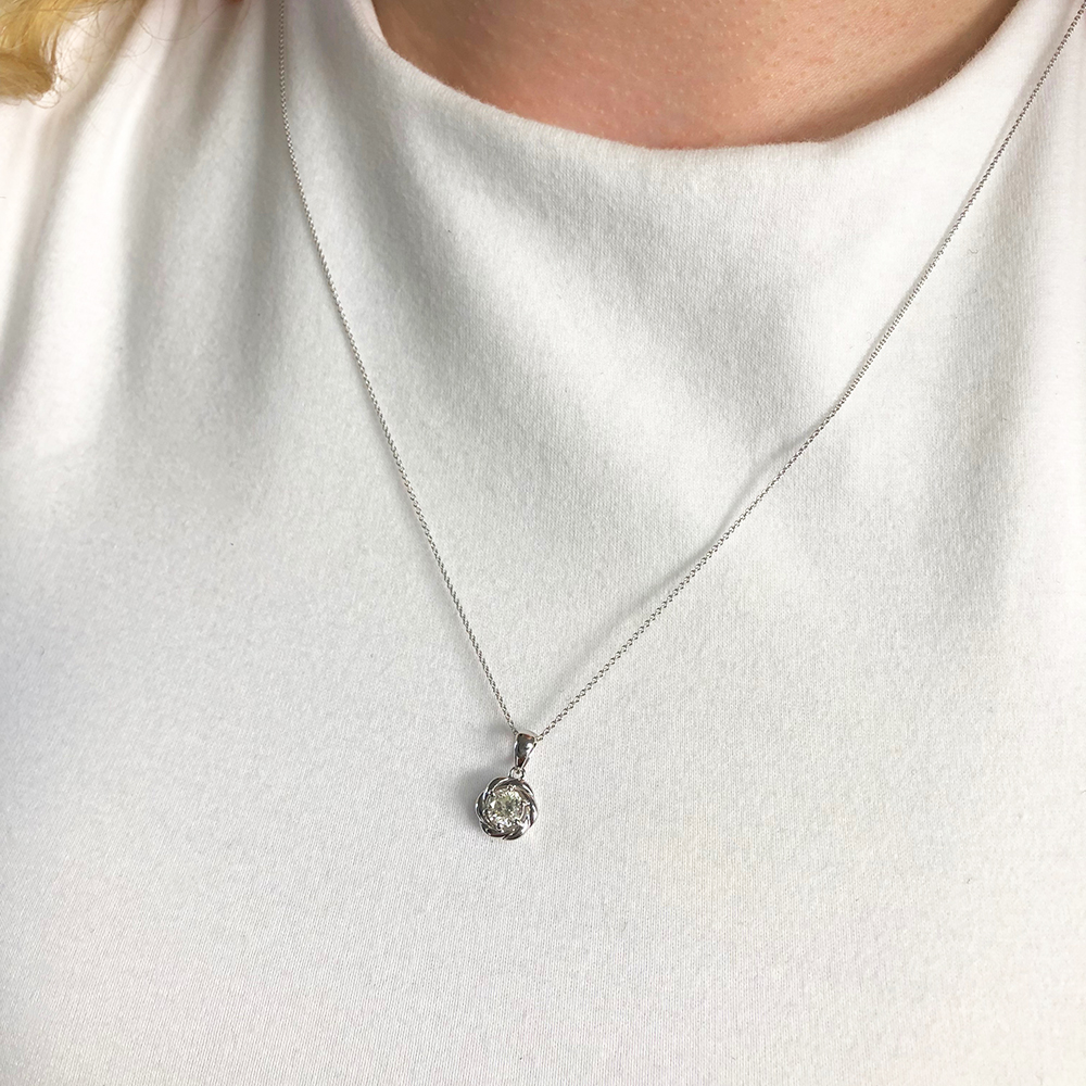 9ct White Gold 0.45 Carat Diamond Swirl Pendant on 45CM 9ct White Gold Chain