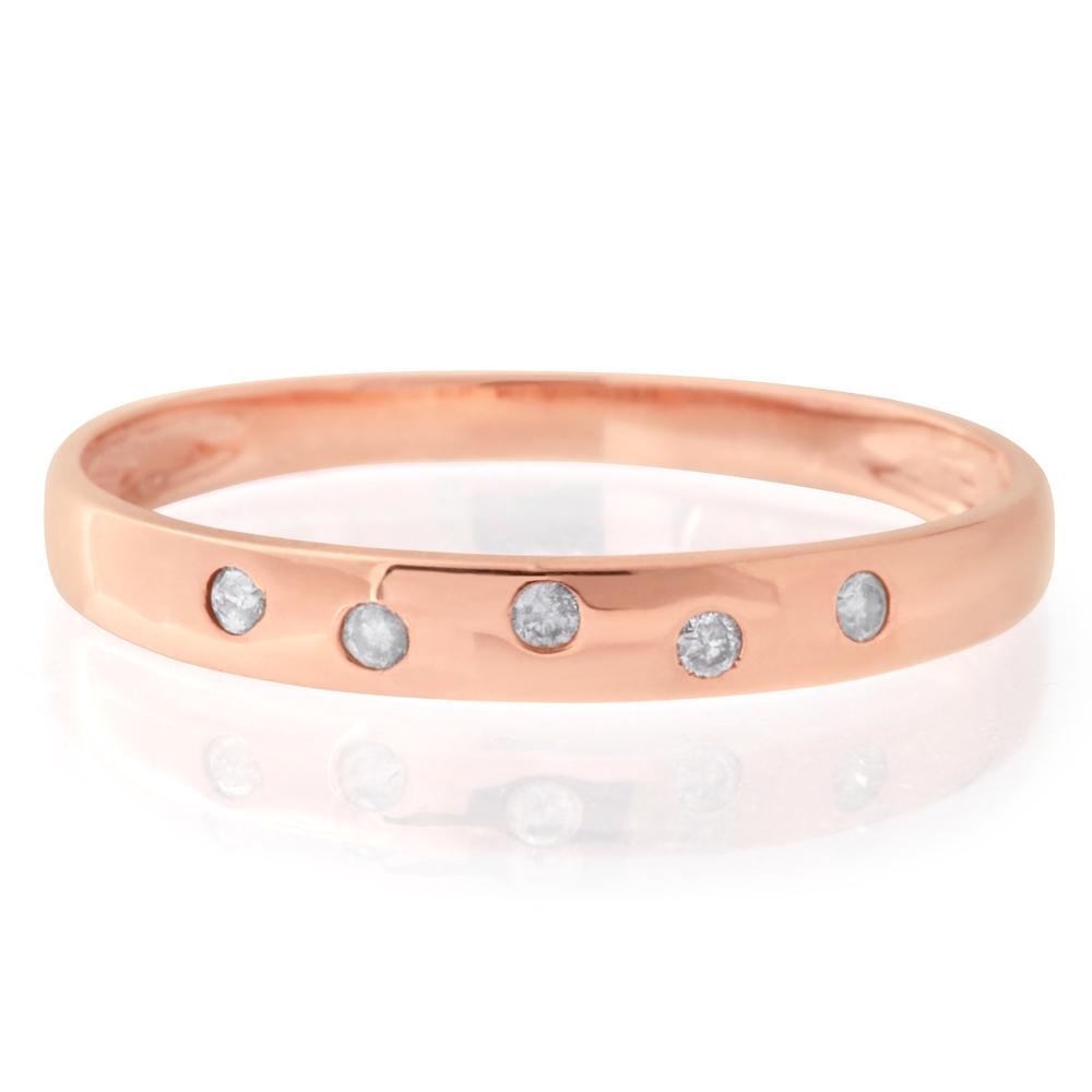 9ct Rose Gold 0.05 Carat Diamond Ring with 5 Brilliant Diamonds