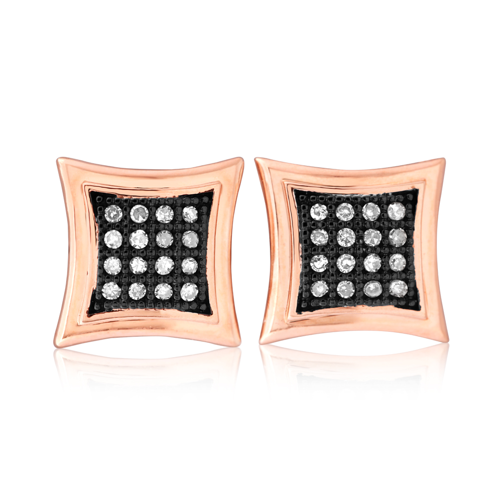 10ct Rose Gold Cognac Diamond Stud Earrings with Brown Rhodium