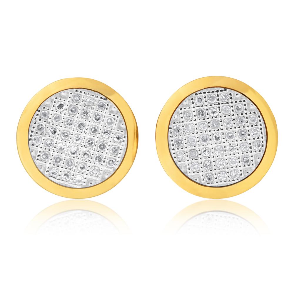 10ct Yellow Gold 15 Point Diamond Stud Earrings