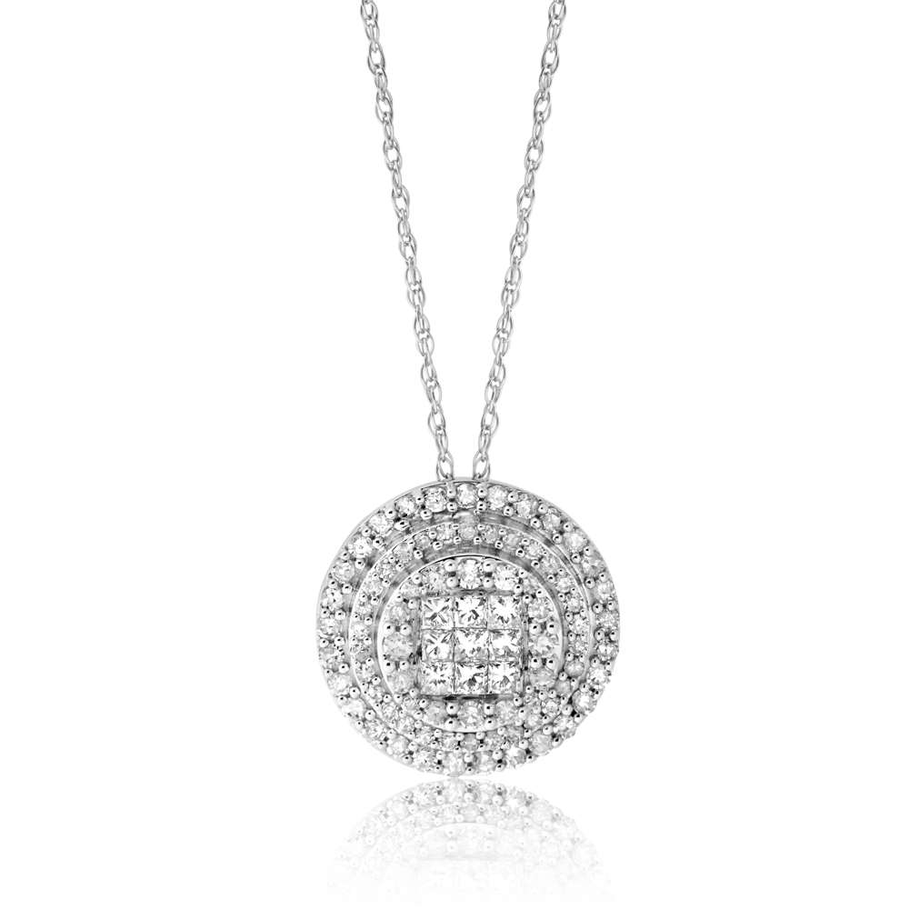 10ct White Gold 1/2 Carat Diamond Pendant on 10ct 45cm White Gold Chain